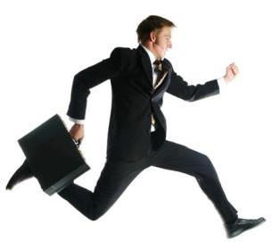 guy in suit running